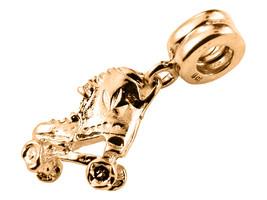 10K GOLD Handmade Classic Roller Skate Dangle Charm Fits EUROPEAN BRACELETS - $145.53