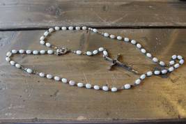 Vintage White Iridescent Bead Silver Rosary - $22.76
