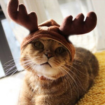 Christmas Costume Pet Cat Doggy Antlers Cap Hat Pet Clothes  - €6,30 EUR