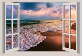 Ocean Waves Beach Sand Window View Color 3D Wall Sticker Wall Mural - $6.92+