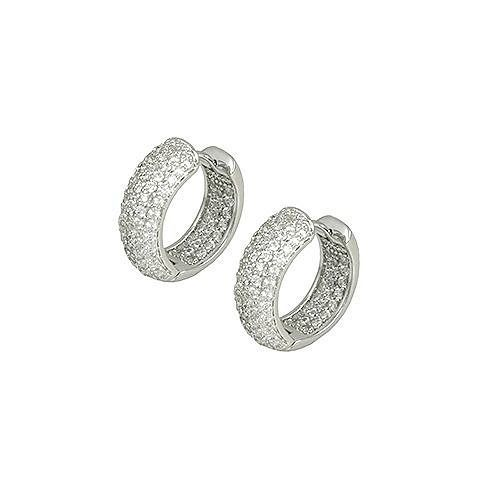 Primary image for Pave Encrusted Wide Dome Front AAA Cubic Zirconia In+Out Rhodium Hoop Earrings