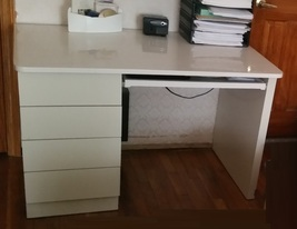 Desk Office Table Almond wood, 4 draws & keybord tray - $150.00