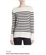 Vince 100% cashmere stripe sweater, size XL , white /black - ₨7,074.08 INR