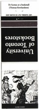 Ontario Matchbook Cover University Of Toronto Bookstores White Dr Syntax... - $1.89