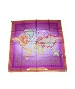 "Louis Vuitton Sciarpa World map 86 CM Monogramma Seta Viola 34"" RK - $471.22"