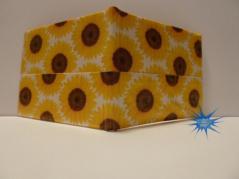 Handmade duct tape wallet with Sunflowers pictures all over it (new design)