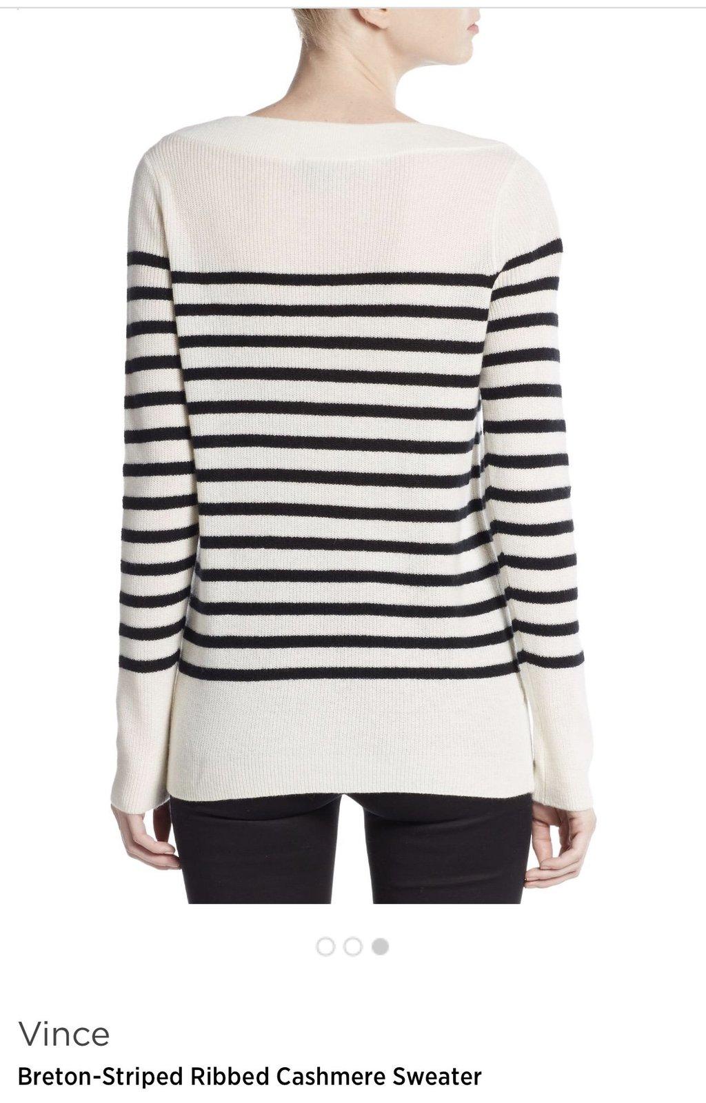 Vince 100% cashmere stripe sweater, size XL , white /black