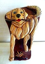 Hand Made and Painted Beach Wood Retriever Puzzle Box - $42.52