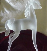"Vintage Fostoria Satin Glass Horse/9"" tall by 8"" wide - $69.25"