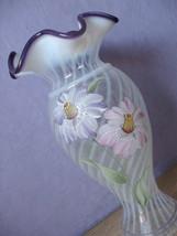 Fenton Heirloom Optics Collection hand painted pink purple white glass vase 2003 - $78.21