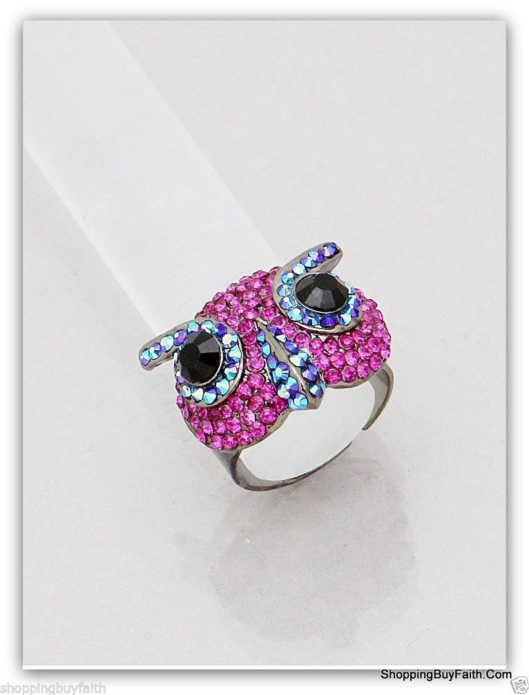 Women's Bright Fuchsia Owl Cocktail Ring Adjustable Rhinestones Pink ShoppingBuy
