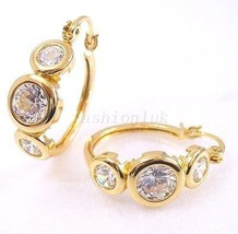 Clear CZ Cubic 18K Yellow Gold Plated Holiday Birthday Women Big Hoop Ea... - $14.11