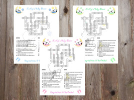 Baby Snoopy Moon & Stars Baby Shower Custom Crossword Puzzle Puzzles Game - ₨51.40 INR+