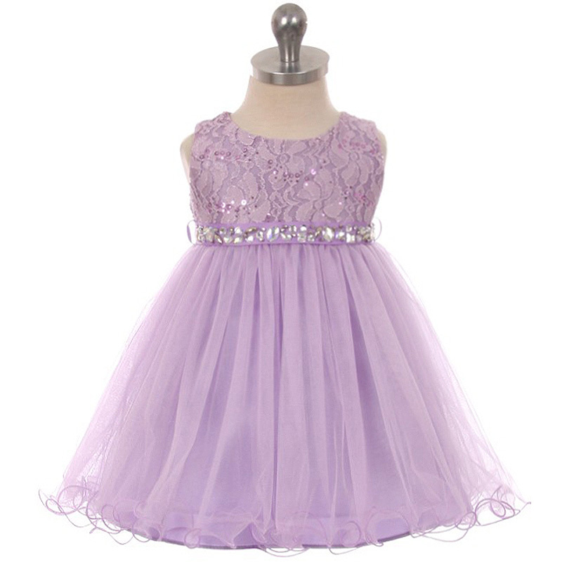 Primary image for Lilac Sequin Top Layers Tulle Skirt Rhinestones Sash Party Flower Baby Dress