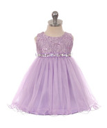 Lilac Sequin Top Layers Tulle Skirt Rhinestones Sash Party Flower Baby Dress - £30.32 GBP