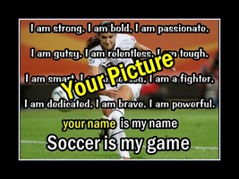 Inspirational Personalized Custom Soccer Poster Motivational Birthday Wa... - $29.99+