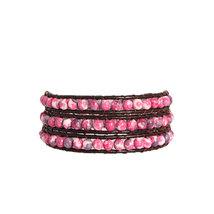 Intaglia Designs Handcrafted Pink Power 3 Wrap Leather Bracelet IDJ213C - $24.00