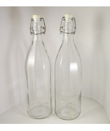 Two Tall Italian Cerve Glass Bottles, Wire Bail and Stopper, Panelled - $9.99