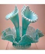 FENTON HOBNAIL OPALESCENT ARTGLASS FLOWER EPERGNE  - $425.00