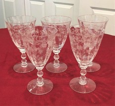 "6 Fostoria Chintz Etched Crystal 6"" Iced Tea / Water Glasses - $94.05"