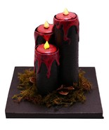 Black/Red Faux Candle Set w/Spanish Moss and Pinecone Halloween Decor Prop  - $19.50