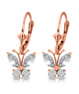 1.24 CTW 14K Solid Rose Gold Butterfly Earrings Natural Aquamarine - $251.05