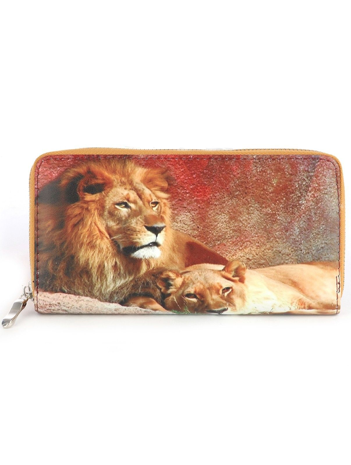 Lion Print Zip Around Wallet Clutch Purse Lions