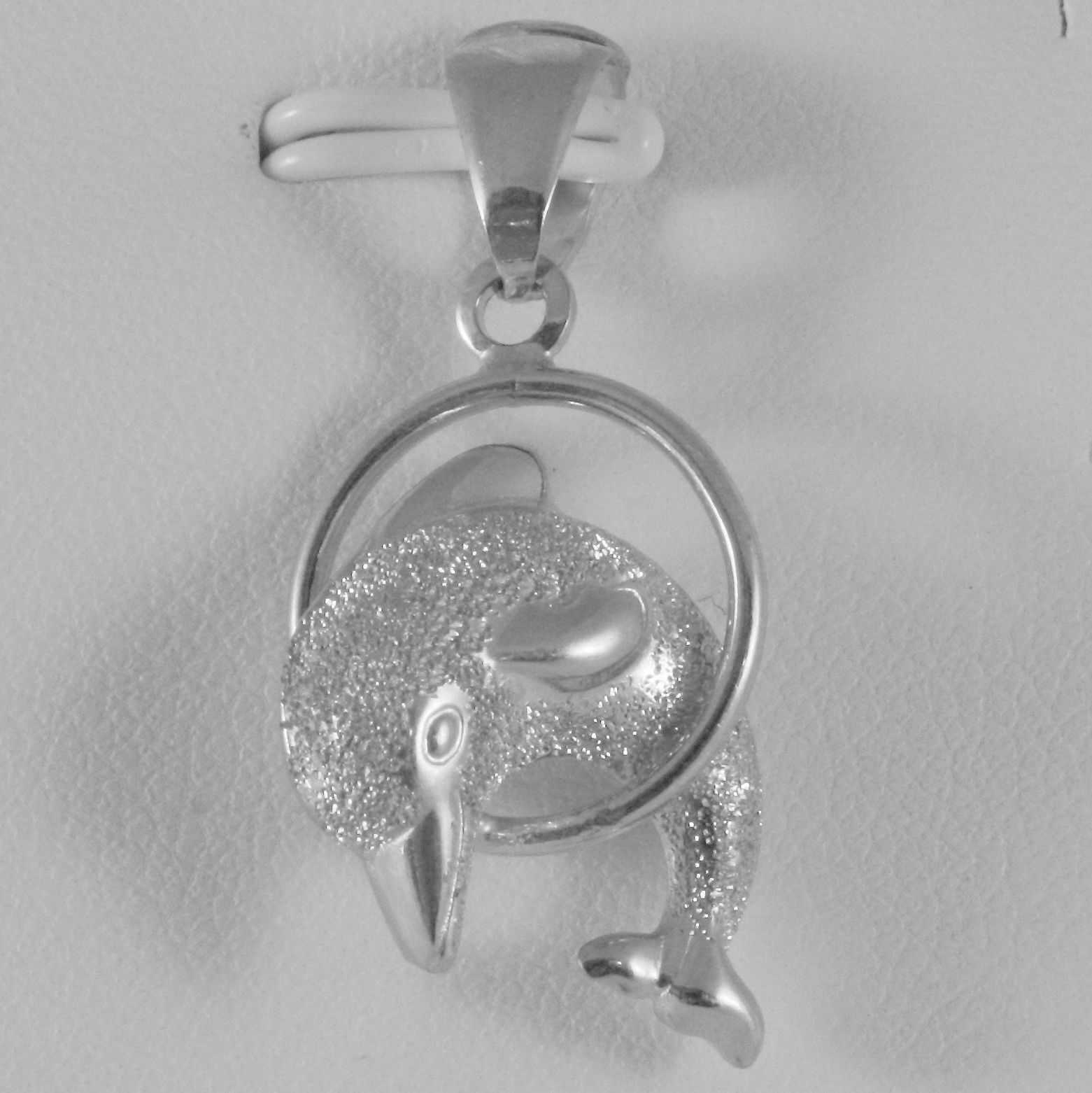 18K WHITE GOLD ROUNDED DOLPHIN CHARM, PENDANT, SHINY AND SATIN, MADE IN ITALY