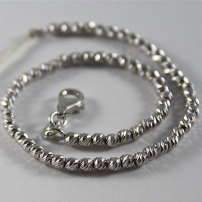 SOLID 18K WHITE GOLD BRACELET WITH FACETED BRILLIANT LINK, MADE IN ITALY