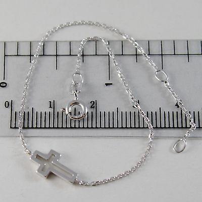 18K WHITE GOLD THIN 1 MM BRACELET 7.10 INCHES, WITH MINI CROSS, MADE IN ITALY