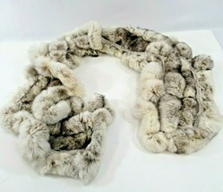 Fur Scarf Knit and Rabbit Winter Neck Scarf Cream Off-White Wool Yarn Cr... - $19.24