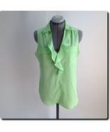 New York & Co Green Ruffled Sleeveless Top S - $16.40