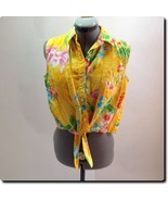 Lauren - Ralph Lauren Yellow Linen Sleeveless Top L - $27.01