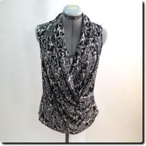Talbots Black and White sleeveless Wrap Top 6 - $19.27