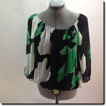 INC International Concepts Green and Black 3/4 Sleeve Top 2 - $17.35
