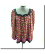 Nicole Miller Purple Red and Gold Long Sleeve Top 14 - $19.27