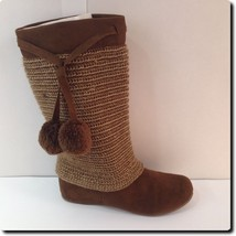 Mia Brown Cottage Knit Overlay Boot - $28.94