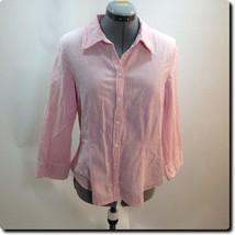 Talbots Pink/white 3/4 sleeve Top M - $15.45