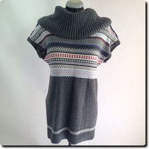Tommy Hilfiger Gray Patterned Sweater Dress with Wide Cowl Neck medium - $24.10