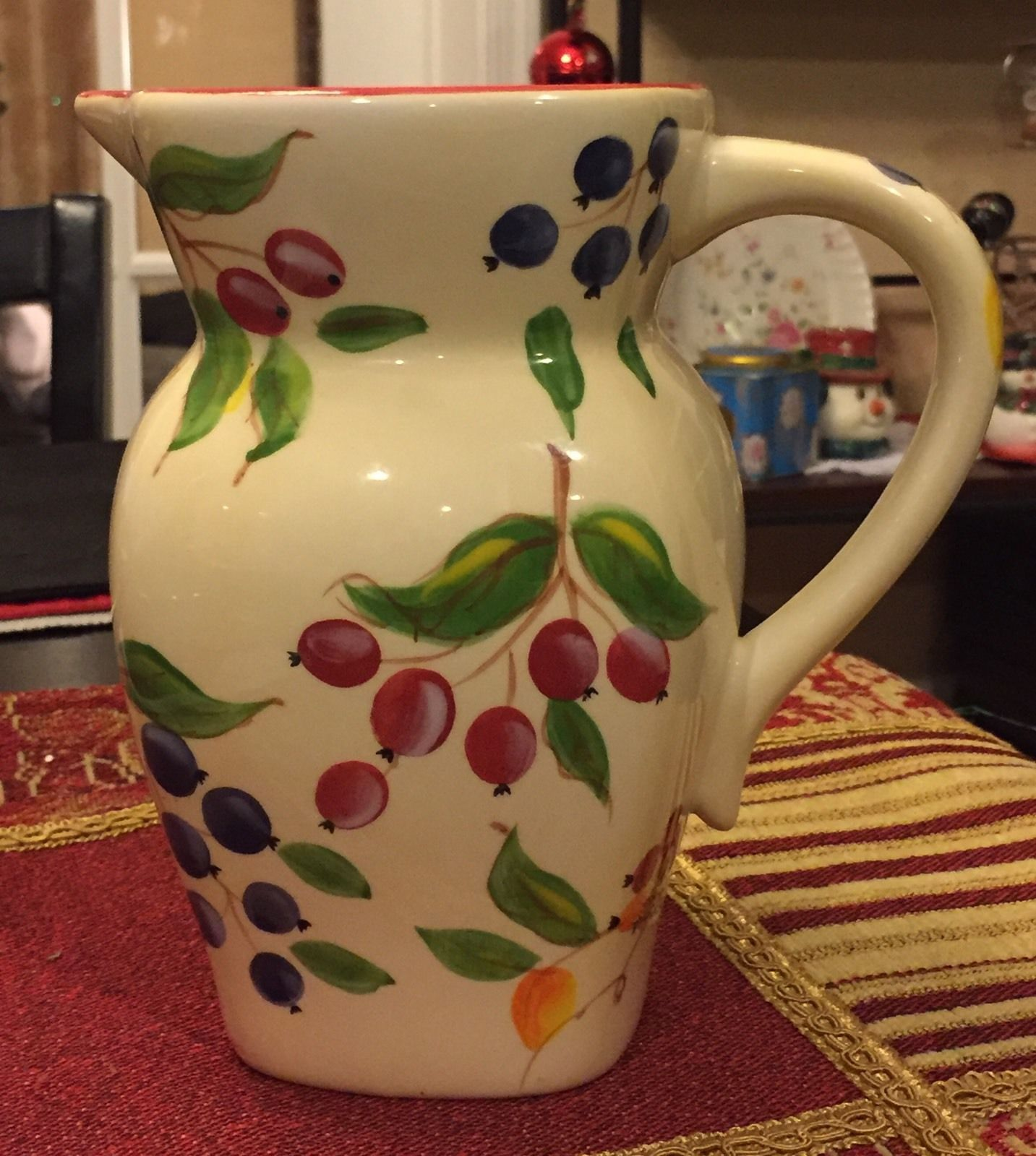 Primary image for Vintage FTD White Ivory Cream Ceramic Pitcher Vase Hand painted Berries & Leaves