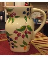 White Ivory Cream Ceramic Vintage FTD Pitcher Vase Hand painted Berries ... - $14.99