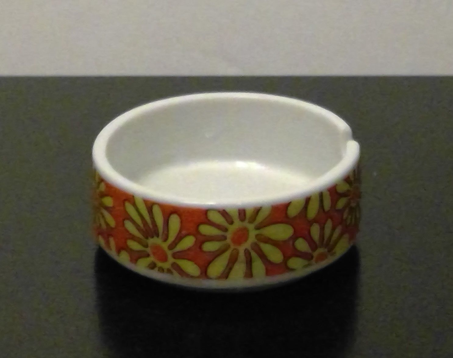 Primary image for Flower Power Single Ashtray Yellow & Orange Daisy Retro 1960's Mid Century Moder