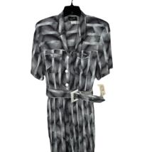 Vintage Jumpsuit Size 8 Wild Rose Black and White Belted Shoulder Pads U... - $80.00