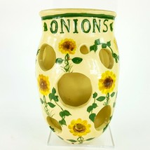 "Vintage Pottery Wall Mount Onion Keeper 8.5"" Bin Storage w Painted Sunfl... - $48.37"
