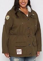 NEW WOMENS PLUS SIZE 3X DARK OLIVE GREEN MILITARY PATCH FUR ANORAK COAT ... - $38.22