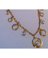 Necklace Banana Republic Gold Chain Clear Crystal Charms RhineStones NWT   - $11.99
