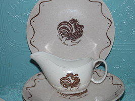 Royal China Early Rooster Morn Plate Cup Saucer  Brown Set of 6 - $138.59