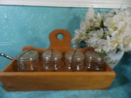 Ouroboros Wood Caddy Ball 4 Mason Jars  Canning Condiment Storage Basket - $39.59
