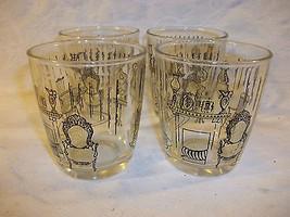 Set of 4 Vintage Tumblers Juice Glasses  Black and Gold Victorian Scene - $29.70