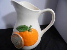 Otagiri Pitcher  Vase Cream White  with Raised Oranges. Hand Crafted Japan - $37.62